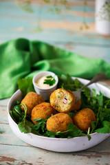 potato croquettes with mortadella.style rustic
