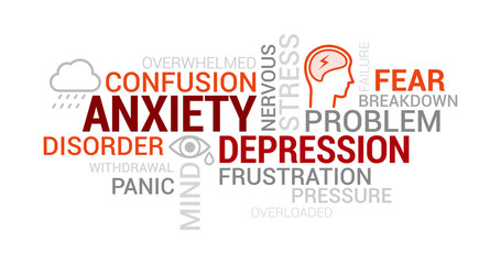 Anxiety, mental disorders and depression tag cloud