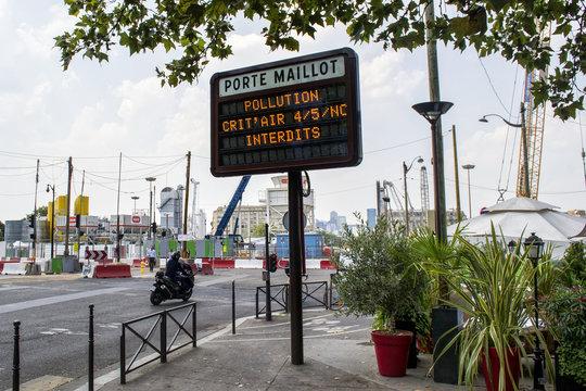 Crit air pollution Paris