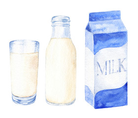 Hand drawn watercolor milk set, glass, bottle and carton. Realistic food illustration isolated on white background.