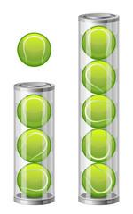 Tennis balls in tuba on a white background