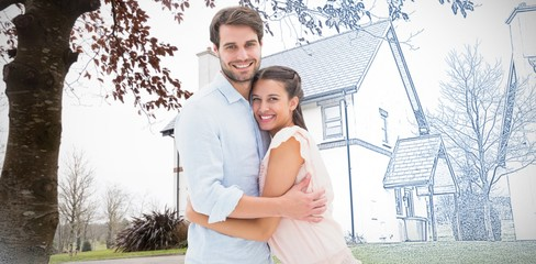 Composite image of attractive young couple hugging and smiling