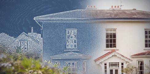 Composite image of pretty house with a blue and white filter