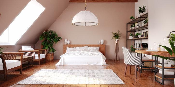 Modern bright open space interior in attic, 3d render