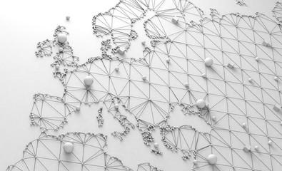 Mapa del mundo y concepto de logística internacional. Negocios y trabajo en red