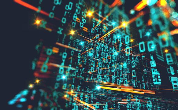 Fondo de informática y programación. Codigo binario y redes.Diseño abstracto de tecnología y datos en internet