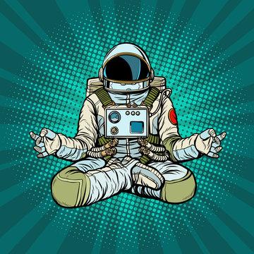 yoga astronaut Lotus pose. Meditation and spiritual practice