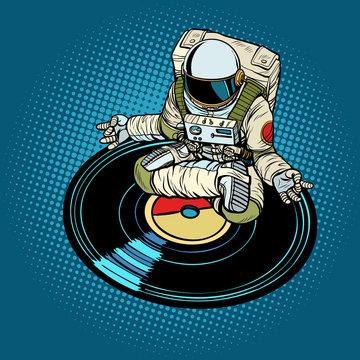 Astronaut man meditates to music, yoga