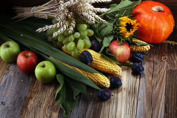 Autumn nature concept. Fall fruit and vegetables on wood. Thanksgiving dinner