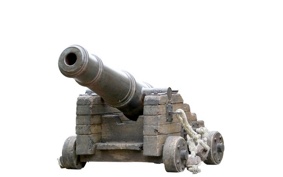 Spanish colonial cannon replica isolated on a white background