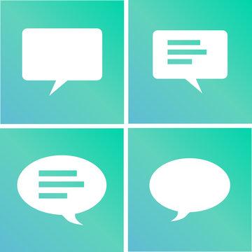 iconos verde azul bocadillos hablar comentario