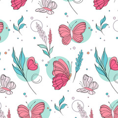 Vector butterfly pattern. Nature insect background with botanical leaves. Kids summer illustration. Natural spring pink cloth, wrap, decoration print.