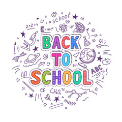 Back to school. Hand lettering with doodles on white background. Vector illustration.