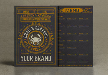 Vintage Restaurant Menu Layout with Gold Ornaments