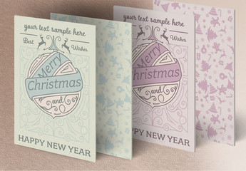 Christmas Greeting Card Layout with Patterns