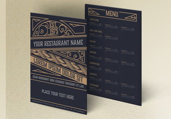 Vintage Restaurant Menu Layout with Tan Ornaments