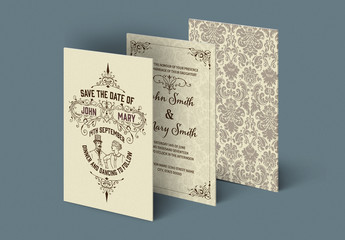 Wedding Invitation Set Layout with Ornamental Patterns