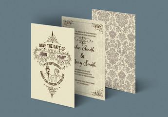Wedding Invitation Set Layout with Ornamental Patterns