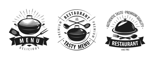 Restaurant, cafe logo or label. Emblems for menu design. Vector illustration