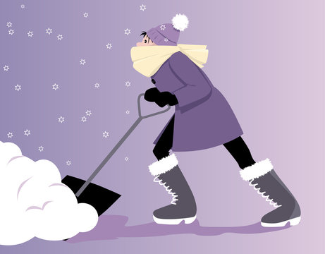 Young woman shoveling snow, EPS 8 vector illustration