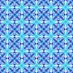 Turkish seamless vector pattern. Blue on white background print for textile