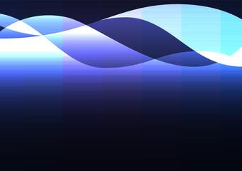 blue line curve layer overlap in dark background, wave transparent backdrop, simple technology template, vector illustration