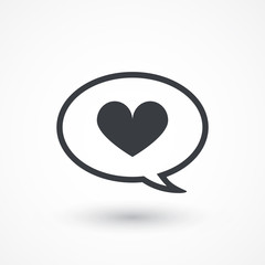 Heart in speech bubble icon. illustration