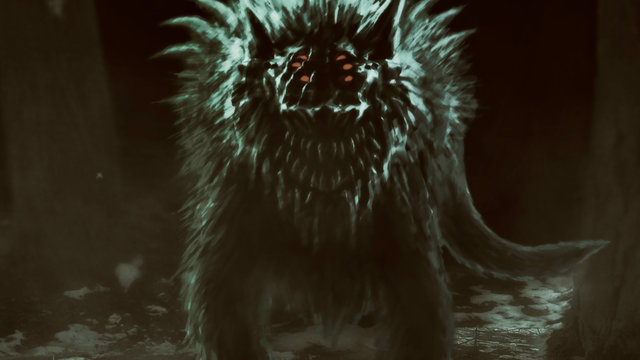 Alien wolf emerges from dark forest and opens his mouth.