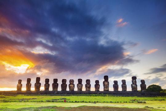 Sunrise over Tongariki, Easter Island, Chile
