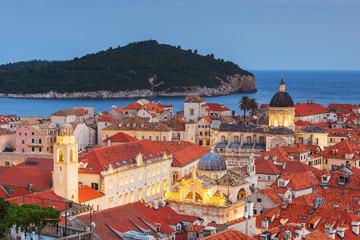Croatia, Dubrovnik, Old town at dusk