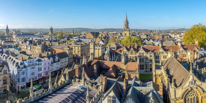 UK, England, Oxfordshire, Oxford, University of Oxford, City Skyline from University Church of St Mary the Virgin