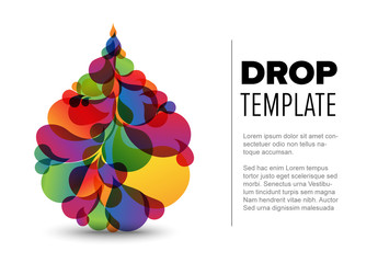 Flyer Layout with Colorful Droplet Elements