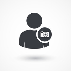 Photographer. Person photo camera icon