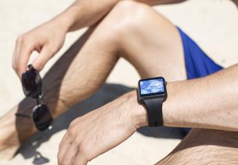 Smartwatch application design beach setting Mockup