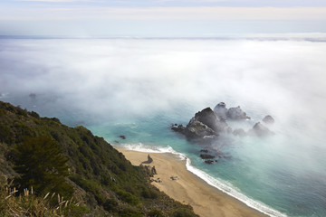Scenic view of clouds covering Big Sur