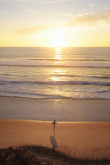 Distant image of woman with surfboard walking at beach during sunset
