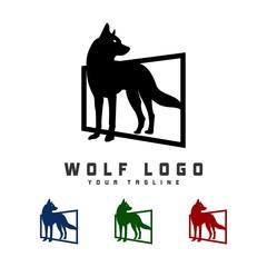 Black Wolf logo design template ,Vector illustration