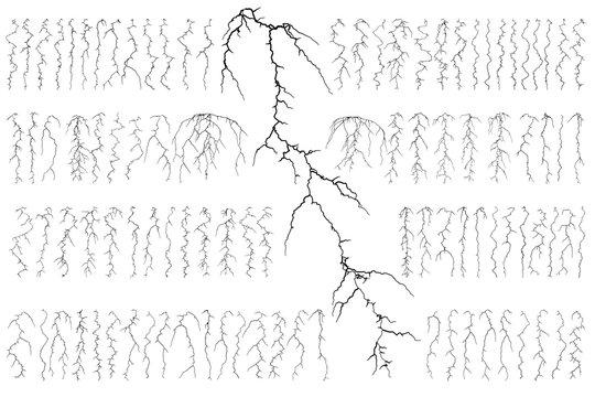 Set of 100 lightning isolated on white background. Vector illustration