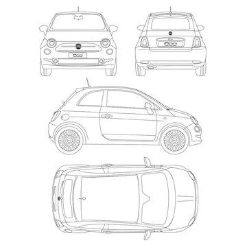 Fiat 500 car blueptint vector technical drawing
