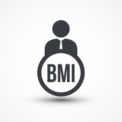 Human flat icon with word BMI Body Mass Index