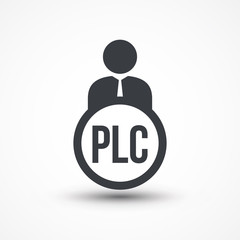 Human flat icon with word PLC (product life cycle)