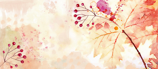 Autumn watercolor background. Design element Wall mural