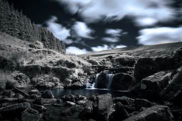 Infrared long exposure image of waterfall in Wales, UK