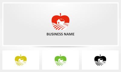 Apple Fruit Farm Field Logo