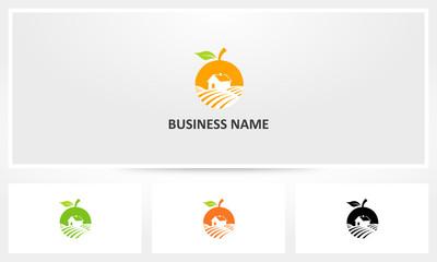 Orange Fruit Farm Field Logo