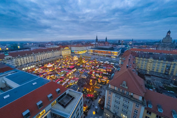 Traditional Dresden Christmas Market, view on main square, twilight scene. Christmas in Germany, Europe.