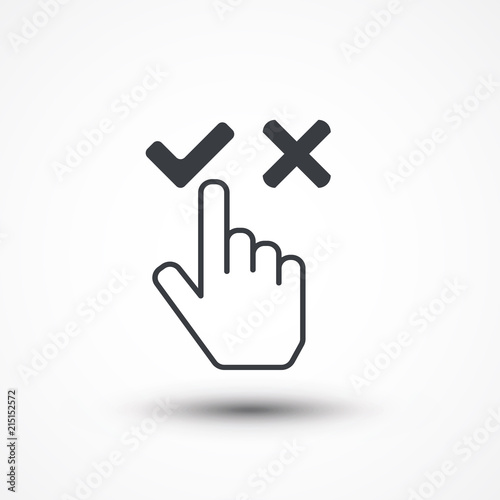 choose concept business disagree cursor choose icon hand yes and