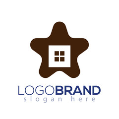 Home Star Logo vector element. home logo template