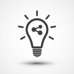 Share idea icon. Light bulb icon. Lamp icon