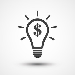 Light bulb with dollar symbol business concept. Money idea icon. Dollar icon. Money Making Ideas